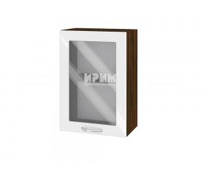 Горен шкаф с витрина за кухня Сити ВФ-Бяло гланц-05-218 МДФ - 50 см.
