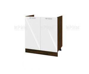Долен кухненски шкаф за бордова мивка Сити ВФ-Бяло гланц-05-30 МДФ - 80 см.