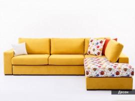 Ъглов диван Анкона - с лежанка и функция сън