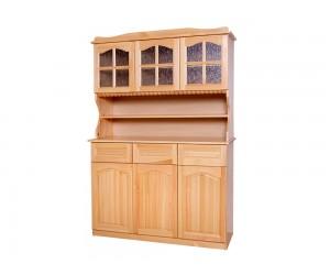 Трикрилен бюфет Масив Прав 14 - с витрини, рафт и чекмеджета