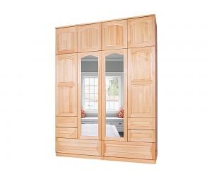 Четирикрилен гардероб 10 от масив с огледала и чекмеджета