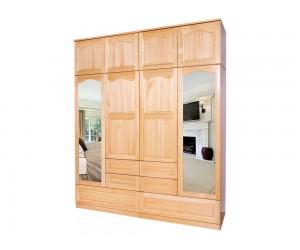 Четирикрилен гардероб 10А от масив с огледала и чекмеджета