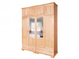 Четирикрилен гардероб Лукс 11 от масив с огледала и чекмеджета