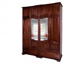 Четирикрилен гардероб Лукс-орех 11А от масив с огледала и чекмеджета