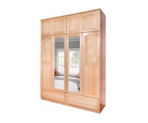 Четирикрилен гардероб 9 от масив с право огледало и чекмеджета