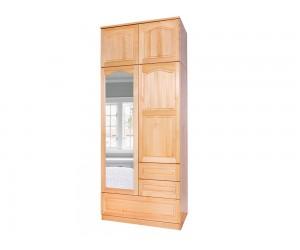 Двукрилен гардероб Масив Комбиниран B 3 - с огледало, надстройка и чекмеджета