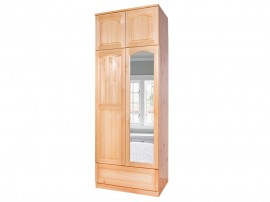 Двукрилен гардероб Масив 2 - с огледало, лост, чекмедже и надстройка