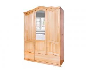 Трикрилен гардероб Масив Баварски 7 - с огледало и чекмеджета
