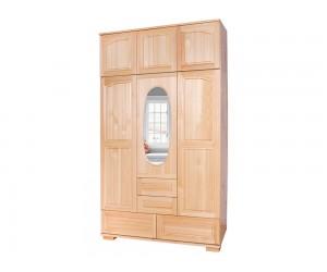 Трикрилен гардероб Елипса Масив 6 - с огледало, надстройка и чекмеджета
