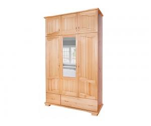 Трикрилен гардероб Масив Лукс 8 - с огледало, надстройка и чекмеджета