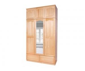 Трикрилен гардероб масив прав 5 - с огледало, чекмеджета и надстройка