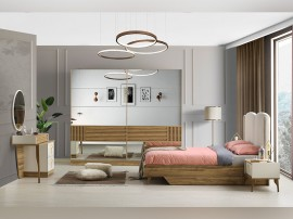 Луксозен спален комплект FIESTA 160/200 см. - светъл дъб/екрю