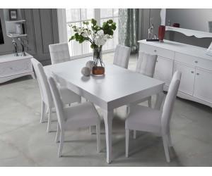 Комплект трапезна разтегателна маса и 4 бр. тапицирани столове Giselle - Бял
