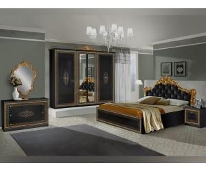 Луксозен спален комплект ANETE NERO GOLD 160/200 - Черен/Злато