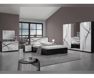 Луксозен спален комплект MATRIX BIANCO NERO 160/200 с LED осветление - Бял/Черен