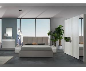 Луксозен спален комплект SEFURA SCORREVOLE 160/200 - Бял/Сив