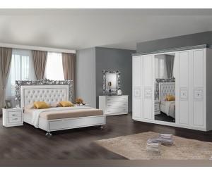 Луксозен спален комплект SIA 160/200 - Бял/Сребро