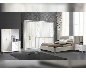 Луксозен спален комплект Beata - Bianco-Gold