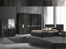 Луксозен спален комплект Beata - Nero/Gold