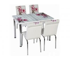 Комплект маса с принт стъкло и 4 бр. столове СВ 006