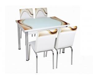 Комплект маса с принт стъкло и 4 бр. столове СВ 019