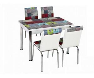 Комплект маса с принт стъкло и 4 бр. столове СВ 026