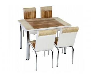 Комплект маса с принт стъкло и 4 бр. столове СВ 029