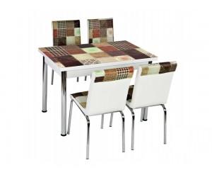 Комплект маса с принт стъкло и 4 бр. столове СВ 031