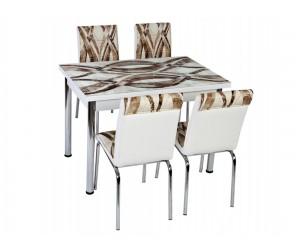 Комплект маса с принт стъкло и 4 бр. столове СВ 036