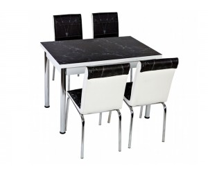 Комплект маса с принт стъкло и 4 бр. столове СВ 054