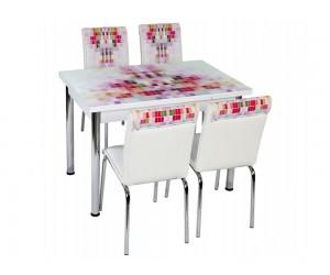 Комплект маса с принт стъкло и 4 бр. столове СВ 056