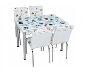 Комплект маса с принт стъкло и 4 бр. столове СВ 062