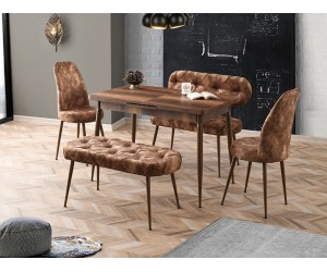 Комплект маса POLO 1602 с 2 стола CAPITONE 2454 и 2 пейки CAPITONE 2455/2456