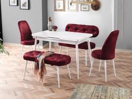 Комплект маса POLO 1604 с 2 стола CAPITONE 2460 и 2 пейки CAPITONE 2461/2462