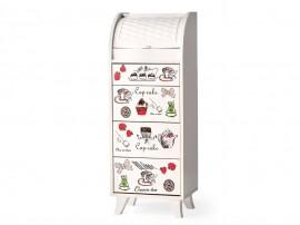 Кухненски шкаф с кутия за хляб 021 - Бял с декорация кафе
