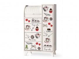 Кухненски шкаф с кутия за хляб 041 - Бял с декорация кафе