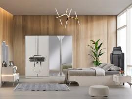Луксозен спален комплект AKCAY 160/200 см. с LED осветление - бял