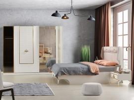 Луксозен спален комплект ARAS 160/200 см. с LED осветление - бял