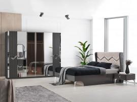 Луксозен спален комплект GOKTURK 160/200 см. с LED осветление - сив лак