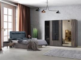 Луксозен спален комплект ILGAS 160/200 см. - кура/черен мат
