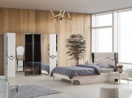 Луксозен спален комплект NIDA 160/200 см. с LED осветление - бял