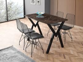 Комплект маса Gala Mermer 567 със столове Inka tel 370