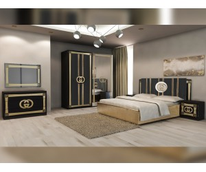 Луксозен спален комплект Double G - Черно/Златно